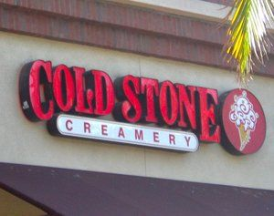 Cold Stone is an ice cream shop that mixes in a variety of tasty ingredients with each scoop of ice cream. Description from localresearch.com. I searched for this on bing.com/images