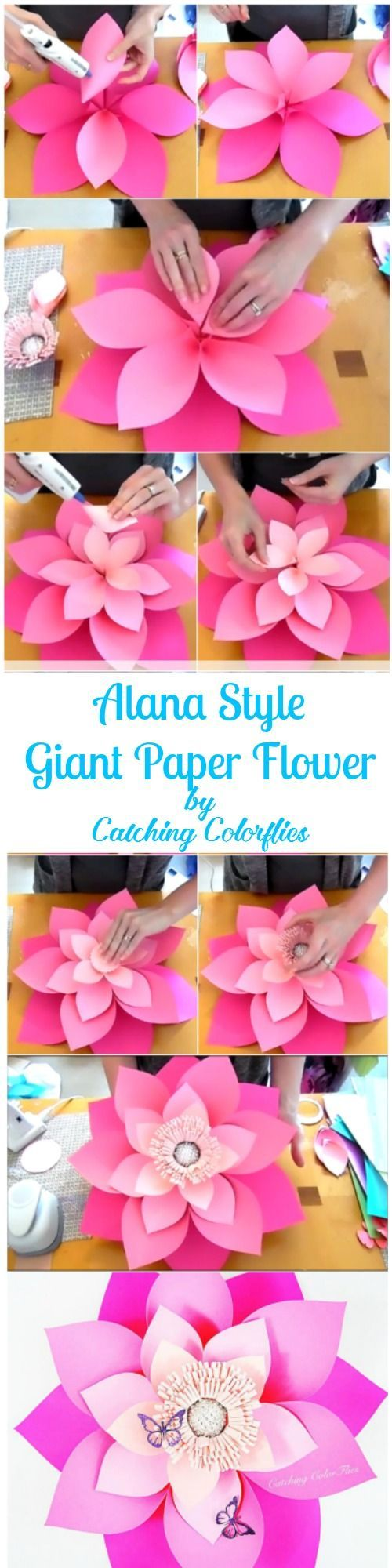 DIY this 21 inches ombre pink giant paper flower. Full template patterns and tutorials. Flower wall.  #DIY CatchingColorflies.com