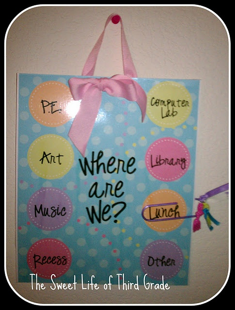 I love the look of this!  This would be good to put on the classroom door in case someone needs to find the class.