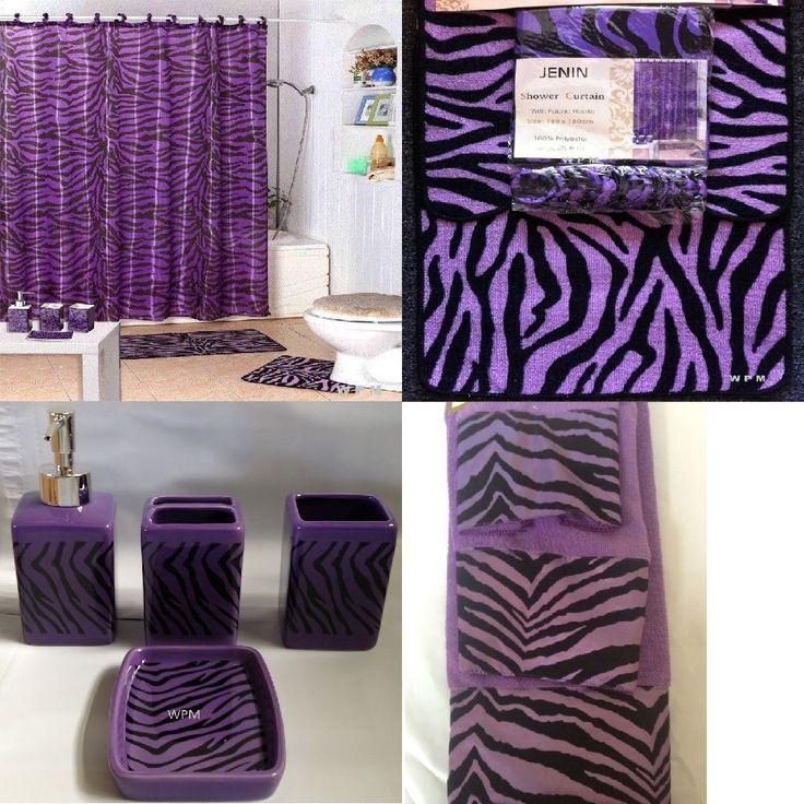 22Pc Bath Accessories Set purple zebra animal print bathroom rugs shower curtain