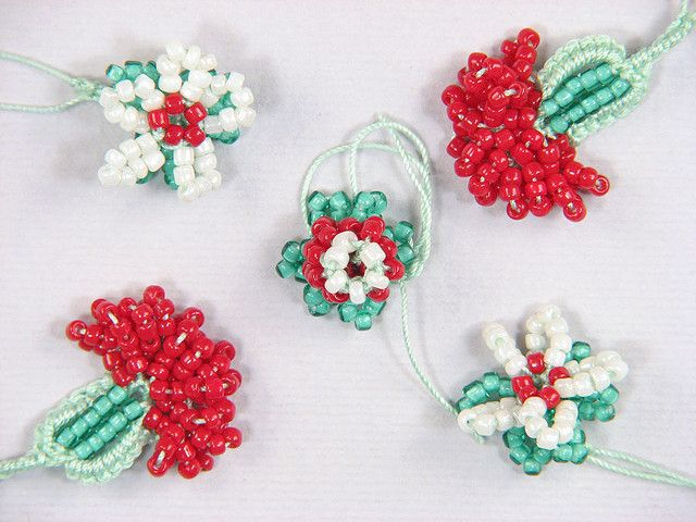 Turkish bead crochet oya flowers by AdeleR, via Flickr