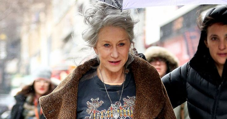 Helen Mirren donned a Grateful Dead tee and leather leggings while in NYC on Feb. 23. See how she pulls off every style, from red carpet to swimsuit