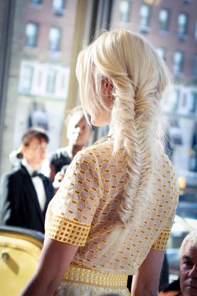 F is for Fishtail Braid   The perfect hairstyle to mirror our Spring 2013 wheat motif.  Photograph by 9to5 Chic  Read more