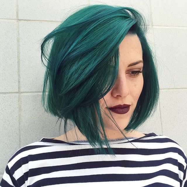 i may have just died and went to heaven.  // @deebonnet took life by the horns and turned her hair green and got a majorly cute chop all done by yours truly! @prephair #prephair @theunicorntribe #modernsalon @pravana @pravana_vivid_love