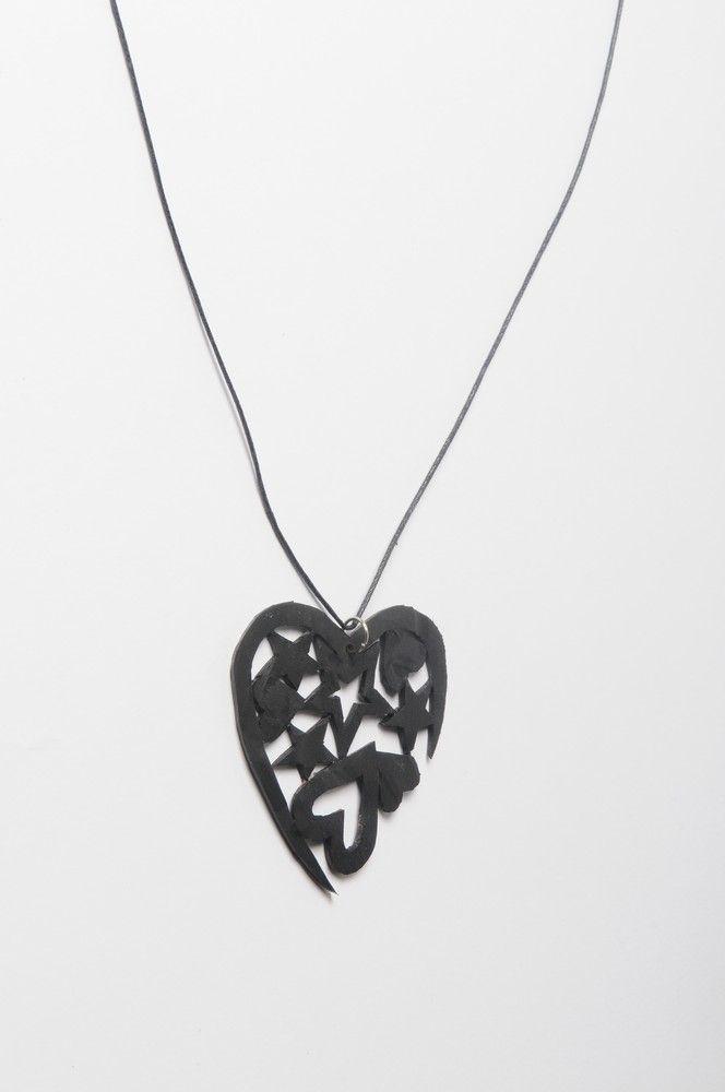 Hearts & stars inner-tube necklace