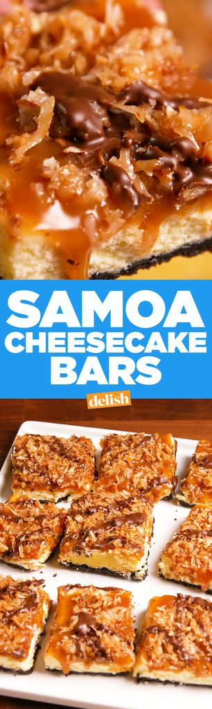 Samoa Cheesecake Bars  - Delish.com