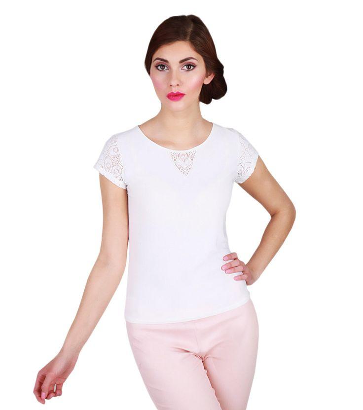 FashionSupreme - Tricou Koronka în nuanță ecru - Haine de damă - Bluze - Waxima - potrivit pentru gusturi sofisticate. Haine şi accesorii de marcă. Haine de designer.
