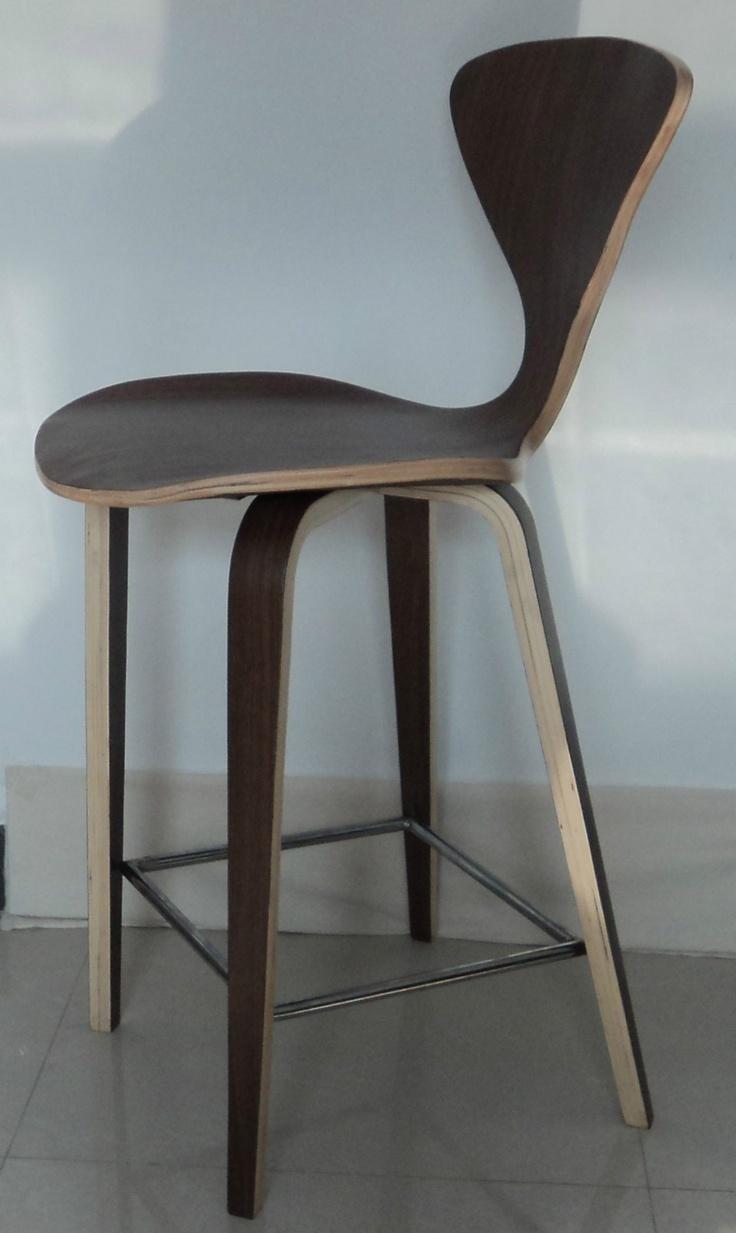 Mid century modern cherner style plycraft bent wood counter bar stool walnut ebay