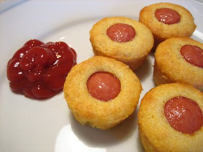 Mini Corn Dog Muffins (adapted slightly from Iowa Girl Eats) -makes 16  1 package Jiffy Corn Muffin Mix 1 egg 1/3 cup milk 3-4 hot dogs (I used 3 bun length dogs) Nonstick cooking spray  Preheat oven to 400 degrees Fahrenheit  1 package Jiffy Corn Muffin Mix 1 egg 1/3 cup milk 3-4 hot dogs (I u...