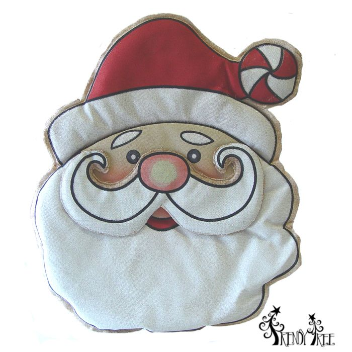 Burlap wall hanging, large Santa Face with layered style. #trendytree #santa #burlap