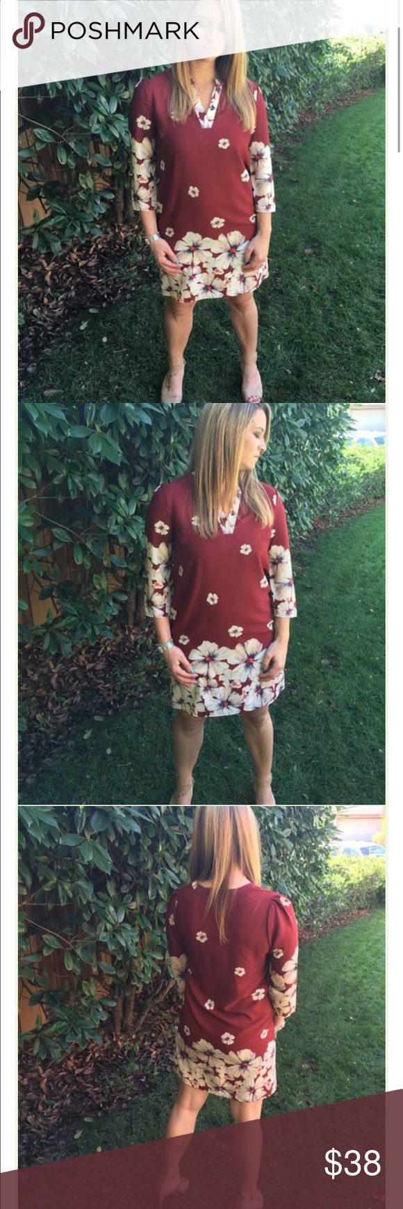 Finley Floral Dress! Perfect for every occassion! Work to weekend approved! Color as shown~Burgundy and Tan! Dresses Midi