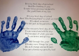 The Kissing Hand - Poem and Art Project (Printable on Blog) Excellent 1st day of school activity