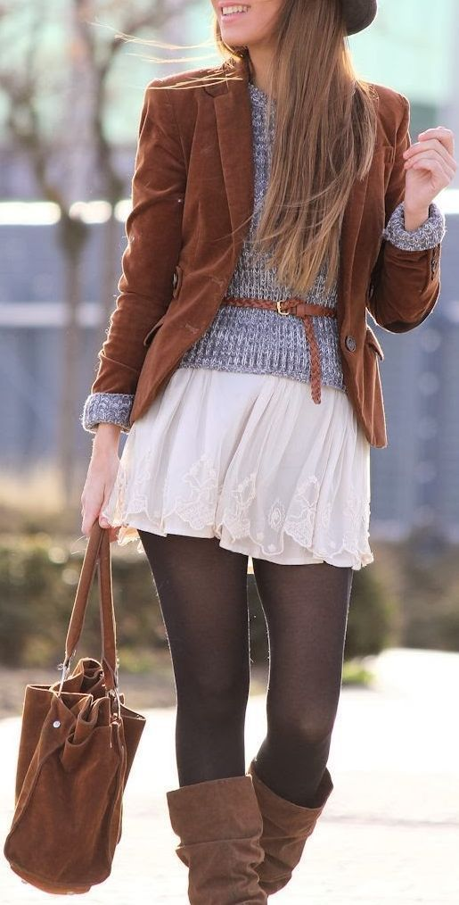 Lace skirt, camel blazer and bag. Latest fashion trends.
