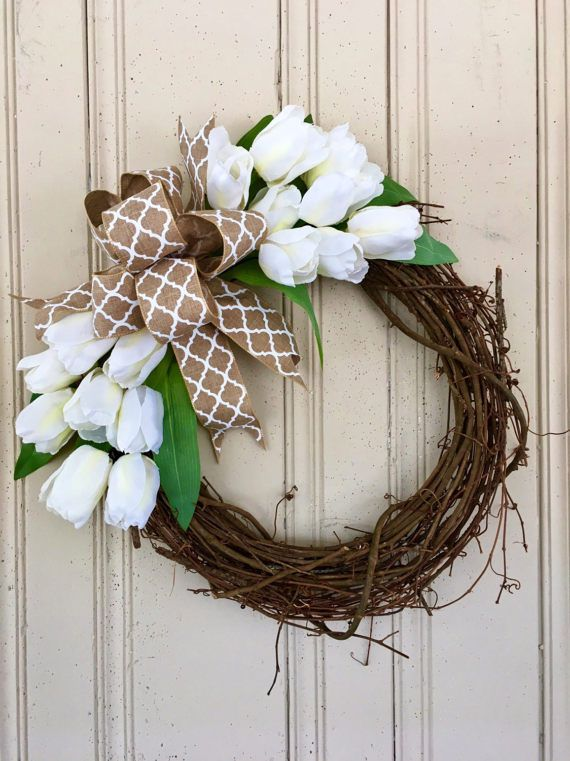 Spring Tulip Wreath Tulip Wreath for Spring Monogram Tulip