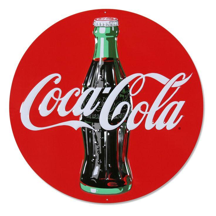 cocacola red circle logo embossed metal sign red circle