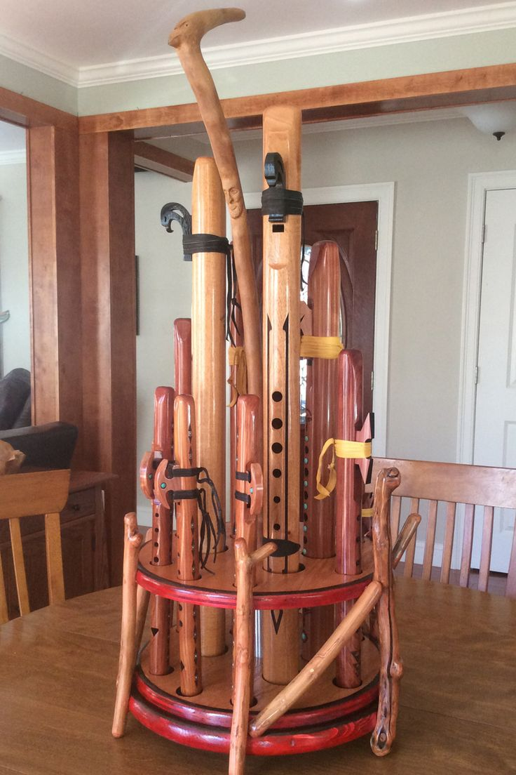 A homemade flute stand by one of our customers, Michael; a Boston bricklayer originally from Maine.