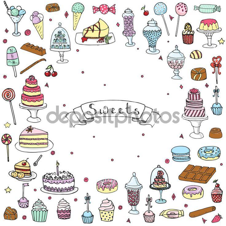 Doodle disegnato a mano dolci insieme vettoriale illustrazione imprecisi Sweet icone insieme isolato deserto simboli dell'alimento su bianco sfondo Cupcake Macaron cioccolato bar pasticceria di lecca-lecca di Candy torta torta pasticceria