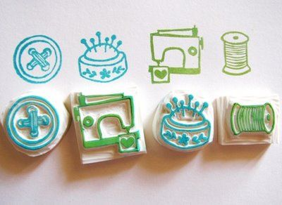 sewing-themed handmade stamps - nice!