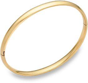 "14K Gold Plain Hinged Bangle Bracelet (3/16"")"