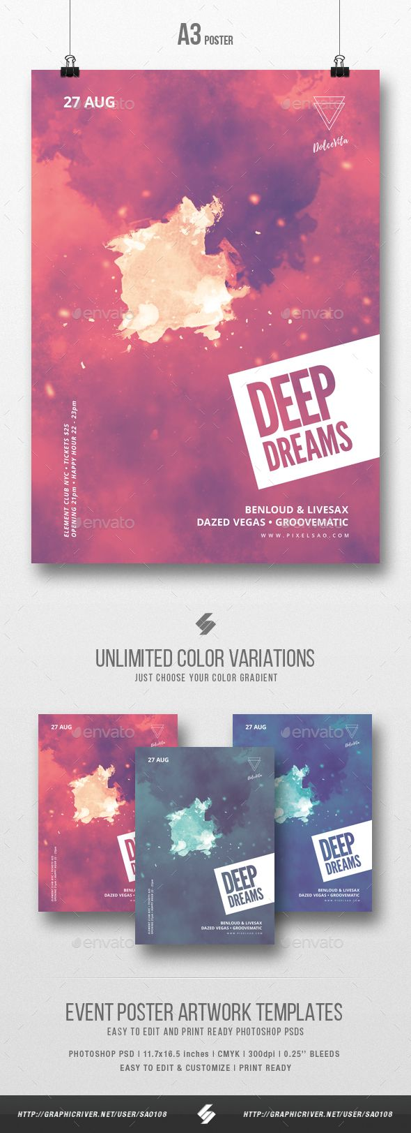 Deep Dreams - Minimal Party Flyer / Poster Template A3