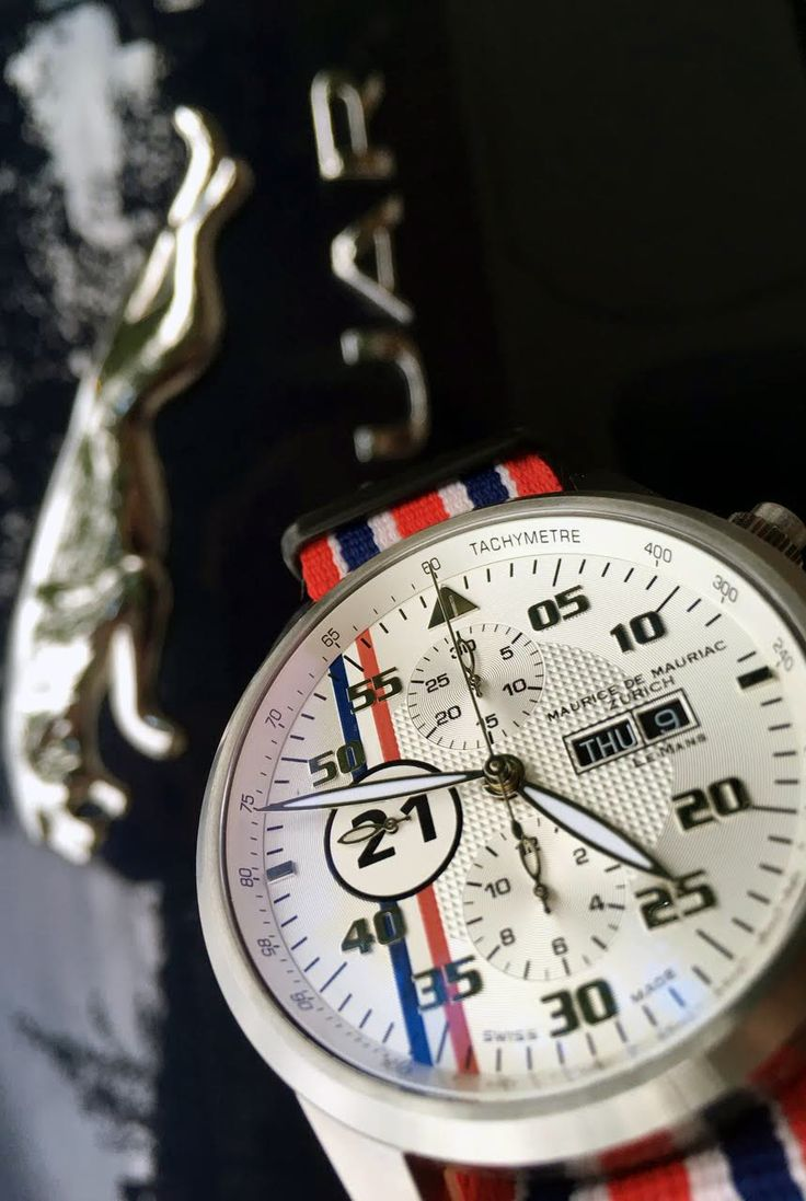 Maurice de Mauriac Le Mans racing watch with Nato strap. Swiss hand-crafted watches.