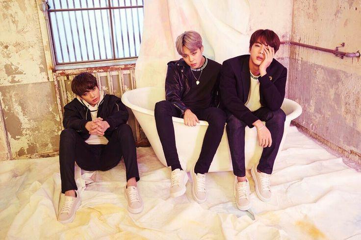 Jungkook, Jimin and Jinduring BTS X PUMA 2017 photo shoot. Another Bangtan and bathtubs themed shoot xD