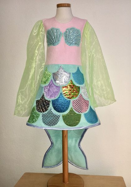 """Kostüme für Kinder - Kostüm """"Kleine Meerjungfrau"""", türkis (6-8J) - ein Designerstück von Zuckerhexe bei DaWanda"""