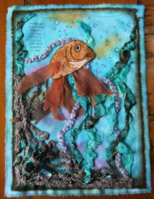 A fabric page created using Distress Inks.