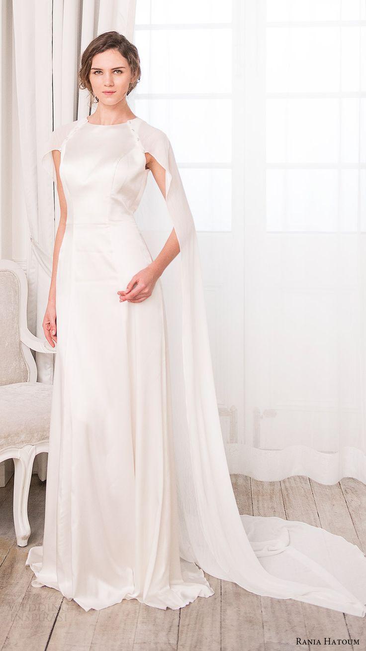 rania hatoum bridal spring 2017 cape sleeves jewel neck aline wedding dress…