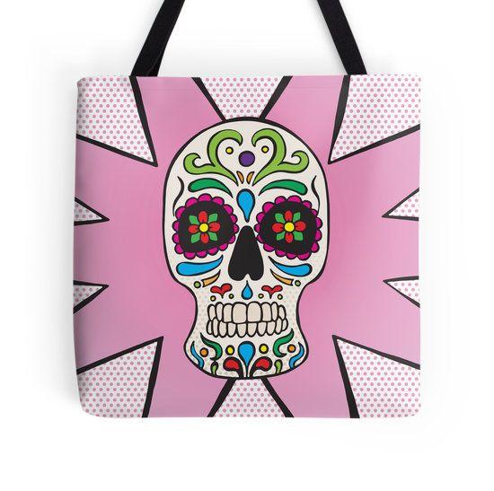 Tote Bag - Sugar Skull #popart #totebag #redbubble