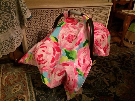 Car seat canopy/blanket made with Lilly Pulitzer by wamozart12