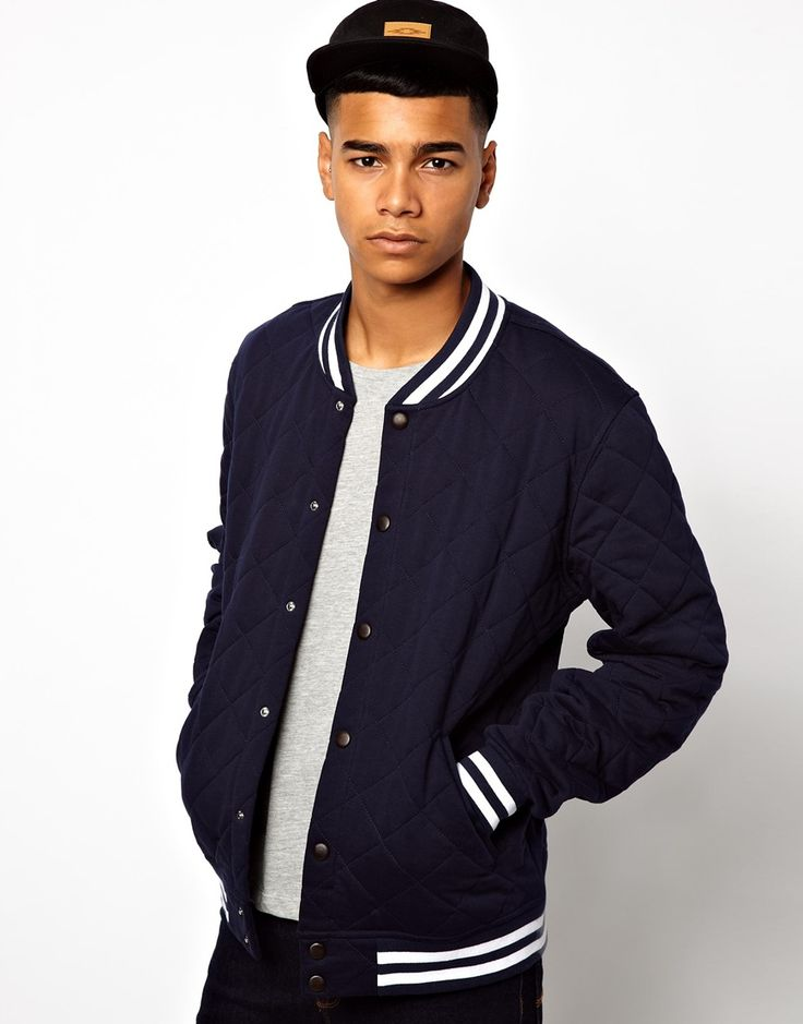 Navy Bomber Jacket by Asos. Buy for $41 from Asos