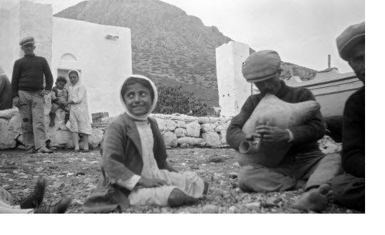 Playing the bagpipe on a beach. Kalymnos, circa 1935 Elli Papadimitriou (ΦΑ_19_284) Greece