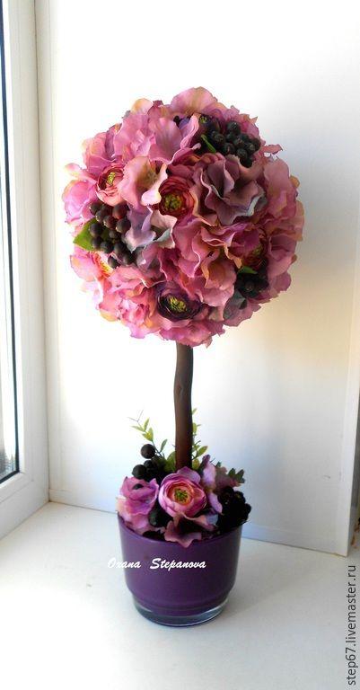 Купить Топиарий - фиолетовый, топиарий, цветочный топиарий, Дерево счастья, хендмейд, оригинальный подарок