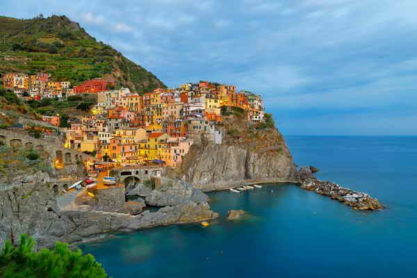 Manarola, Italy. This fishing village is one of the five villages in the famous national park Cinque Terre (Five Lands).