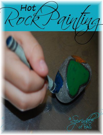Hot rock painting - simple and inexpensive #kid craft!  {A Sprinkle of This . . . . A Dash of That}