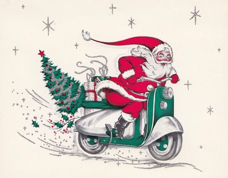 Vintage Christmas Card, Retro Santa, Santa Scooter