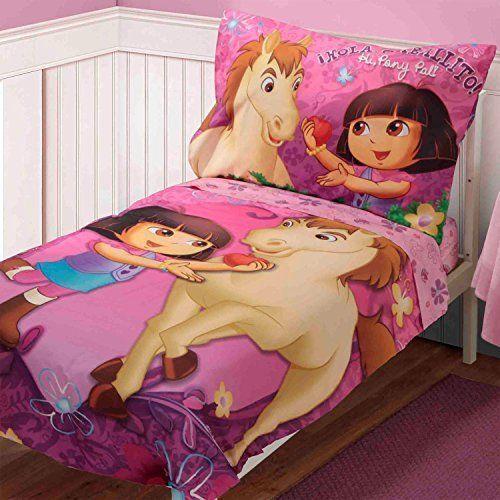 4-Piece-Dora-the-Explorer-Pony-Pal-Toddler-Bedding-Set-Comforter-Sheets-Girls