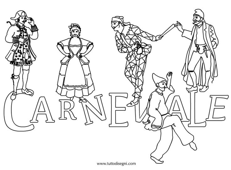 Disegno Carnevale da colorare - TuttoDisegni.com