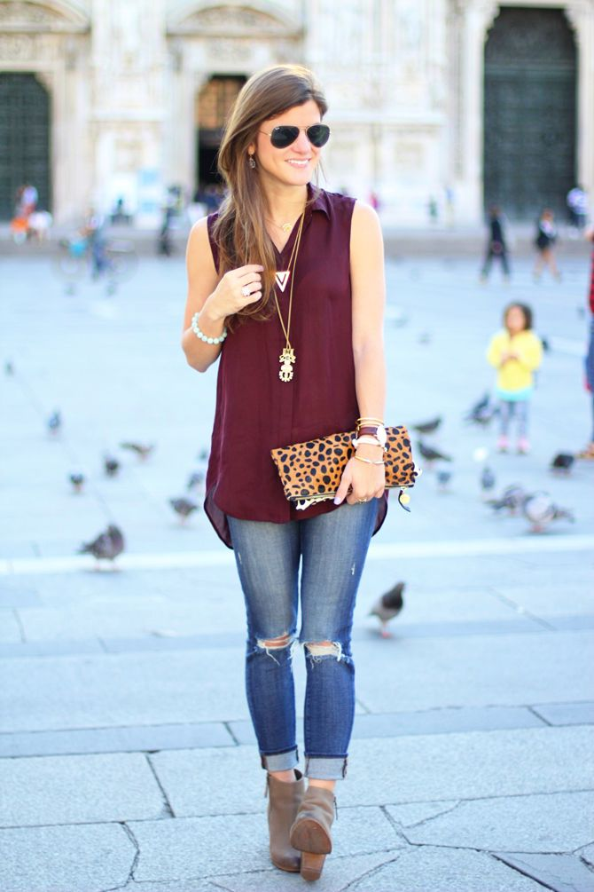 A burgundy blouse is a versatile fall staple. Pair it with a pencil skirt and a printed cardigan for work & with distressed denim, booties and layered necklaces for the weekend or a night out.