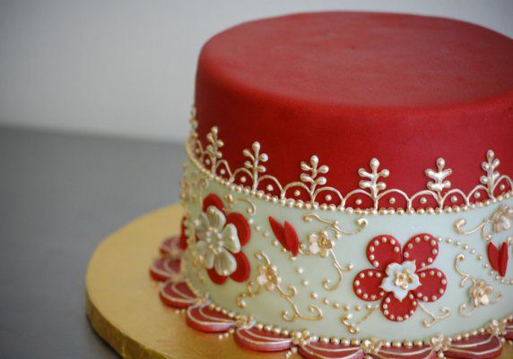 Pretty Red Cake with Applique & Scroll Work