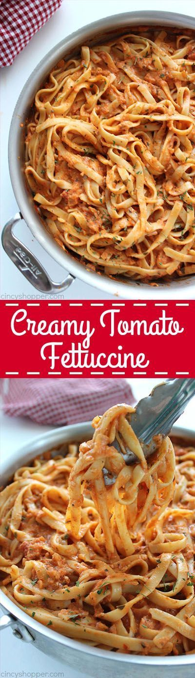 Creamy Tomato Fettuccine - perfect for a dinner side dish or even a meal. The pasta dish is creamy, full of flavor, and so easy to make. My family LOVES it!