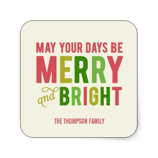 Merry and Bright Holiday Stickers/Envelope Seal