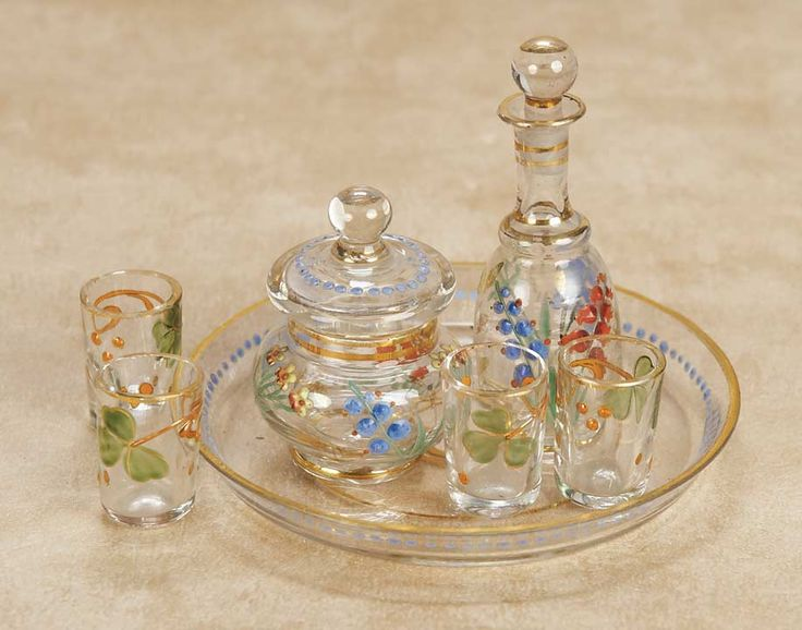 French Blown Glass Miniature Decanter Set; circa 1890. http://Theriaults.com