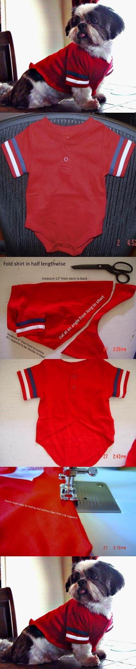 Dog Clothes - Recycler un body de bébé en vêtement pour chien, une bonne solution pour réutiliser les vêtements de son enfant, devenus trop petits !