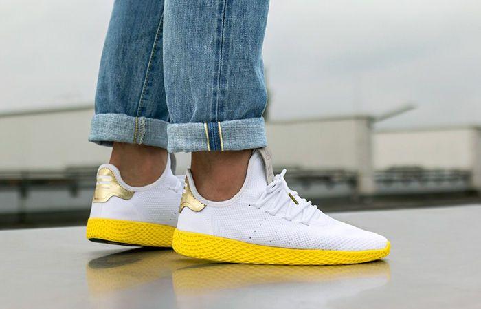 adidas Pharrell Williams Tennis Hu White Yellow - UK Size 10