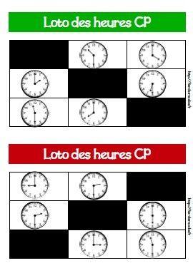 Voici deux lotos des heures pour le CP et le CE1. Objectifs : Lire l'heure sur une horloge ou une montre à aiguilles : heures entières et demi-heures Lire l'heure sur une horloge ou une montre à aiguilles : heures entières, demi-heures et quarts d'heure...