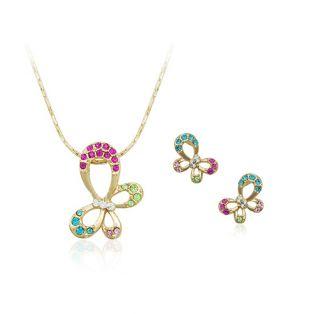 Set bijuterii cu Swarovski Fluturasi de Primavara