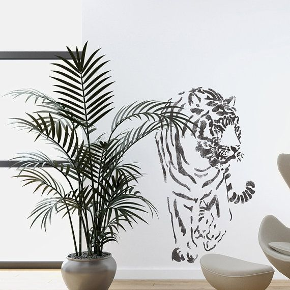 Wall Stencils Tiger Large stencil Template by JboutiqueStencils