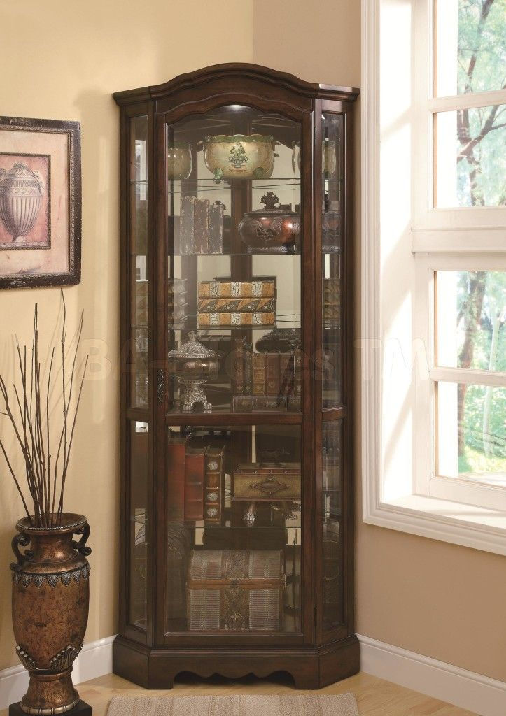 Furniture Tall Corner Dark Brown Wooden Bar Cabinet With Glass Doors  Connected By Beige Wall Theme